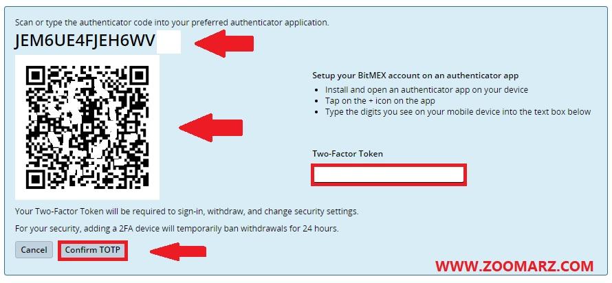 کد نمایش داده شده را به صورت دستی در اپلیکیشن Google Authenticator وارد نمایید