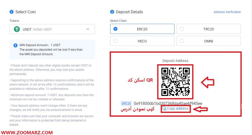 شما می توانید آدرس را کپی نموده و یا کد QR آن را کپی نمایید