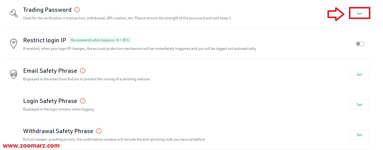 با استفاده از این گزینه شما قادر خواهید بود تا یک رمز برای تراکنش های خود ایجاد کنید