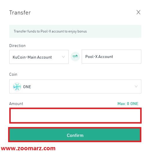 رمز ارز انتخابی خود را از حساب اصلی Main Account به حساب Pool-X انتقال دهید