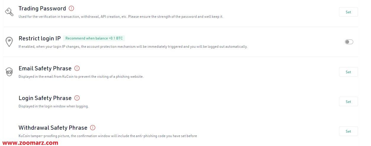 گزینه های دیگر قسمت Security Settings
