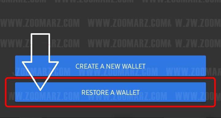 "روی گزینه "" Restore a Wallet "" لمس کنید"