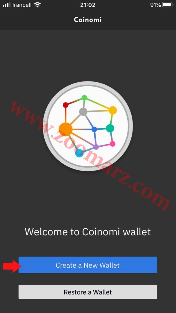 روی گزینه Create a New Wallet زده و یک کیف پول جدید ایجاد کنید