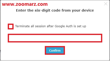 با استفاده از برنامه Google Authenticator فیلد مورد نظر را پر کنید
