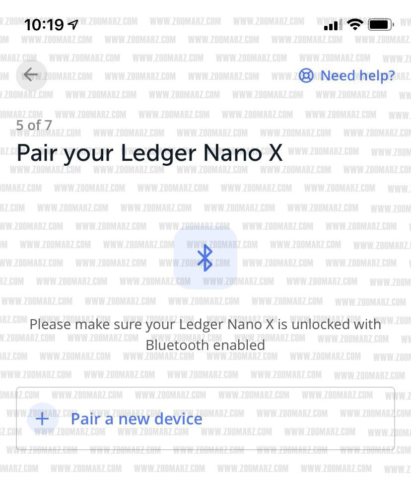 انتخاب ارز دیجیتال در لجر نانو X