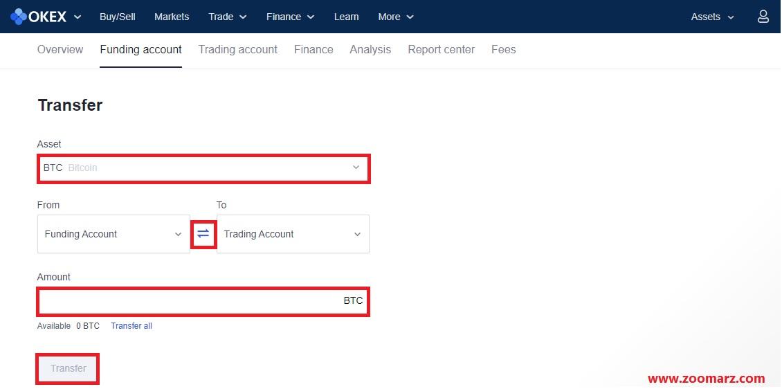 در صفحه Transfer یا انتقال، رمز ارز خود را برای انتقال انتخاب کنید