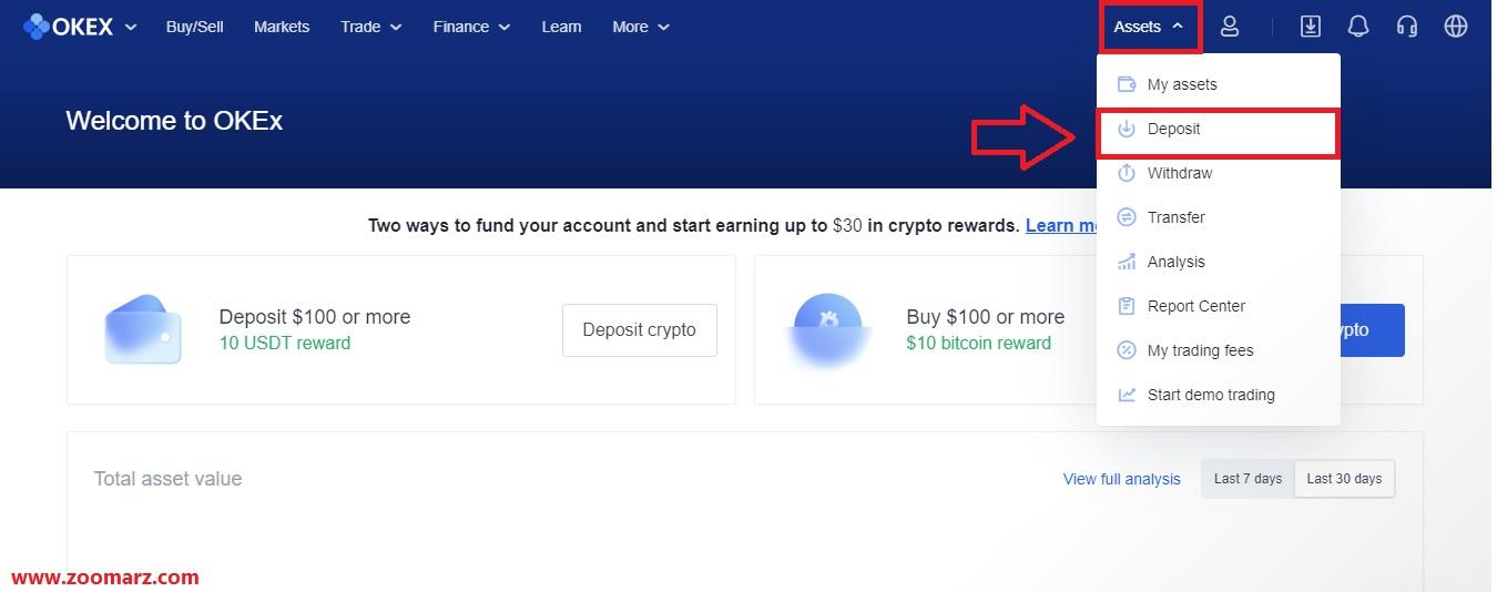 آموزش واریز Deposit ارز دیجیتال در صرافی اوکی OKEx