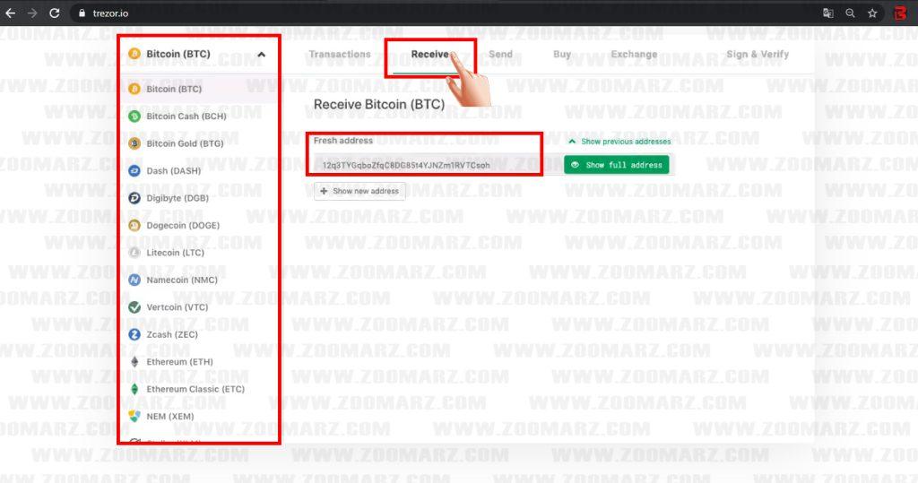 دریافت ارز دیجیتال در کیف پول سخت افزاری ترزور