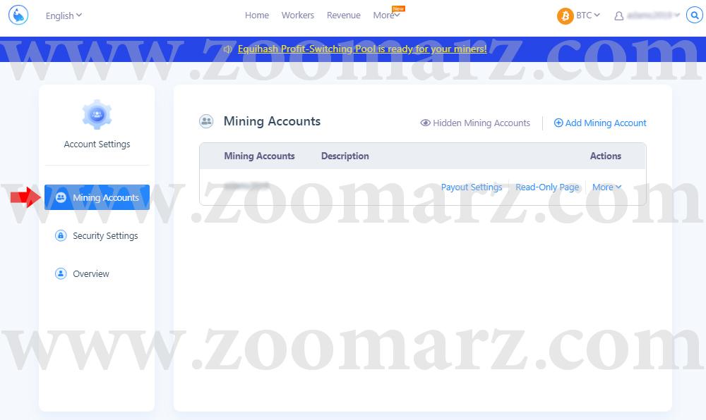 اکانت مایینگ - ارز دیجیتال F2Pool