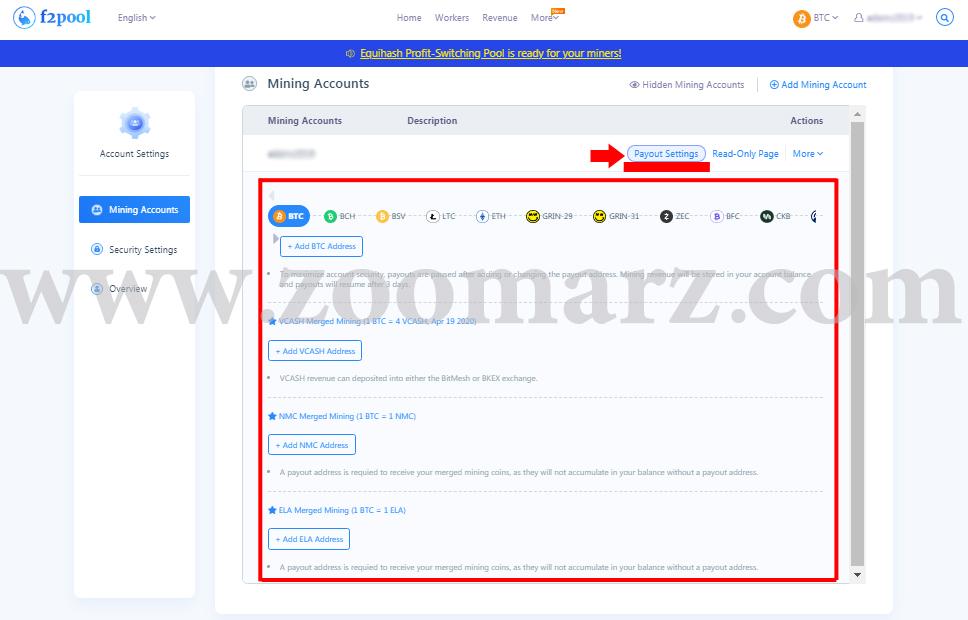 تنظیمات - ارز دیجیتال F2Pool