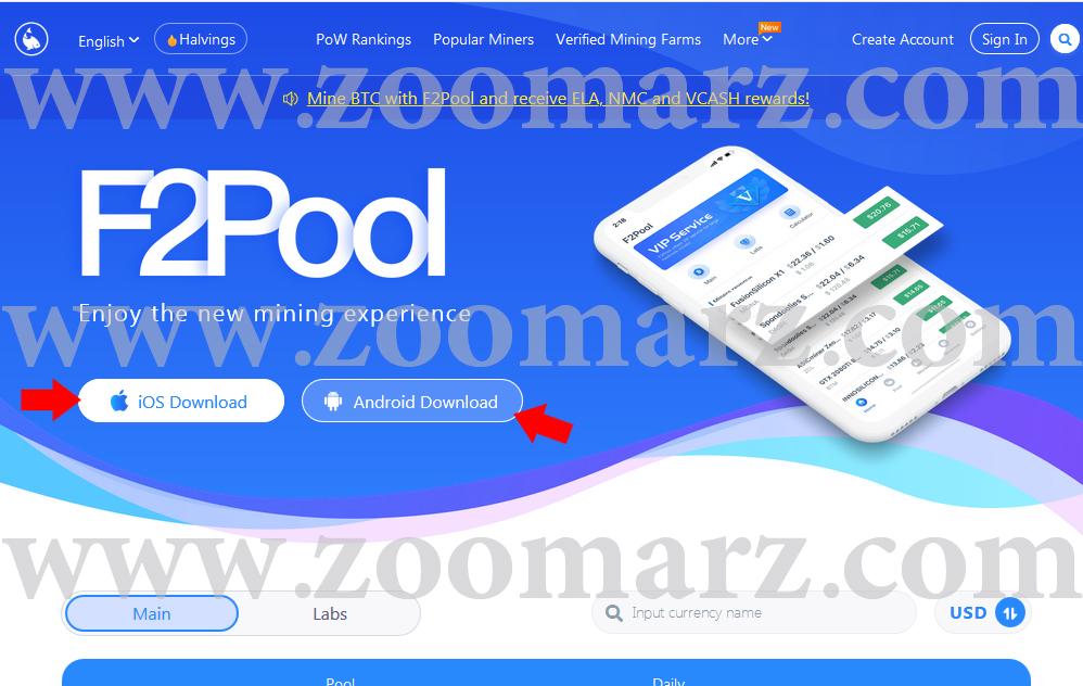 نصب اپلیکیشن - ارز دیجیتال F2Pool