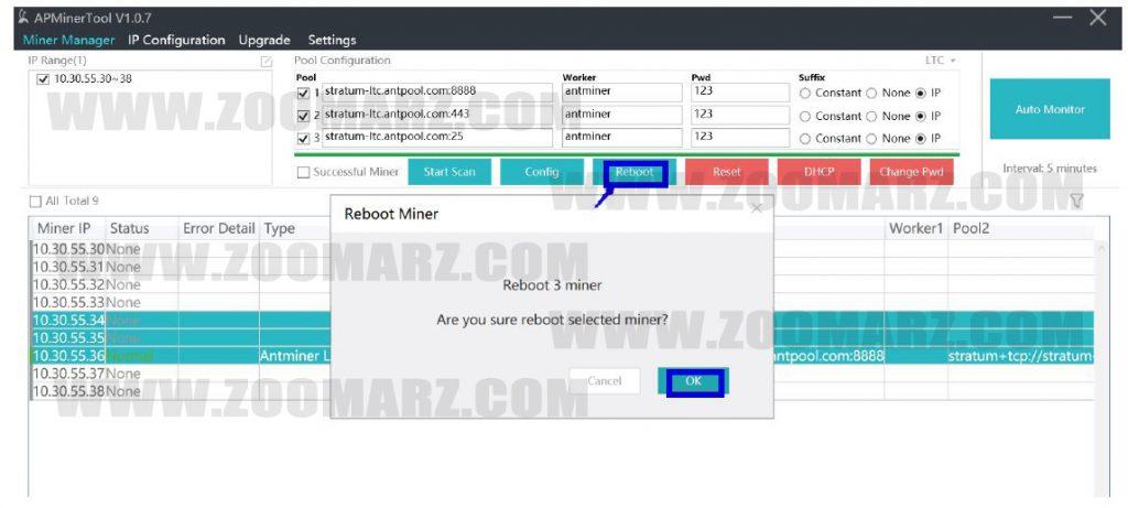 بازنشانی دستگاه های ماینر در نرم افزار APMiner Tool