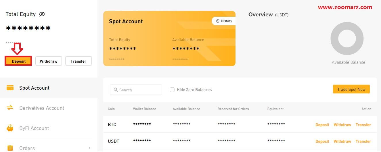 برای واریز کافیست تا گزینه Deposit را همانند شکل زیر انتخاب نمایید
