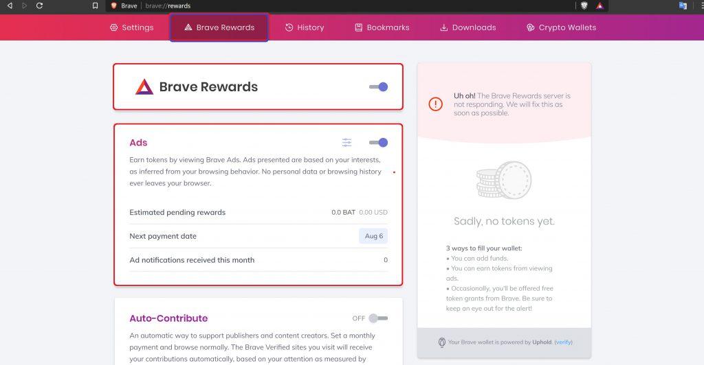 طریقه فعال سازی نمایش تبلیغات پولی در مرورگر بریو Brave
