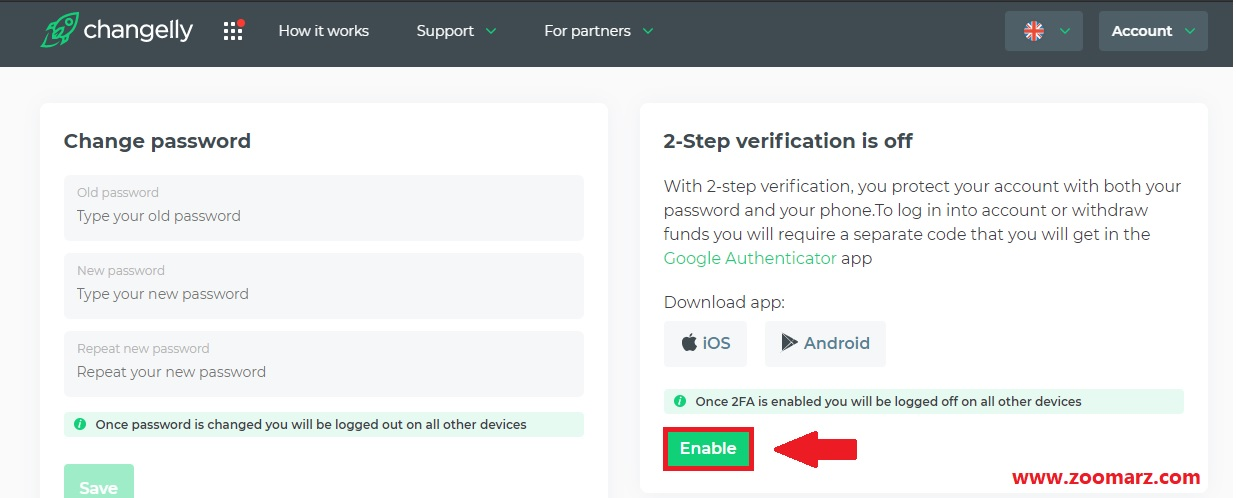 گزینه Enable در صفحه تایید هویت دو مرحله ای یا 2FA را انتخاب کنید