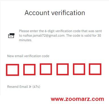 کد ارسال شده به ایمیل خود را وارد نمایید
