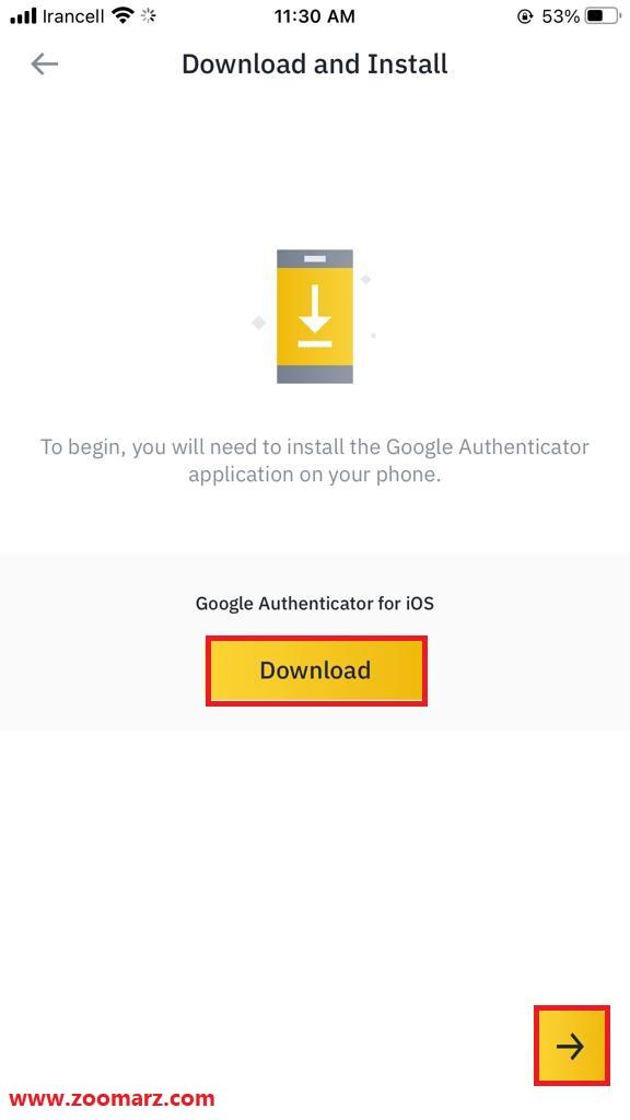 اپلیکیشن Google Authenticator را دانلود کنید