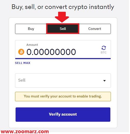 با تب Sell می توانید ارز مورد نظر خود را به فروش برسانید