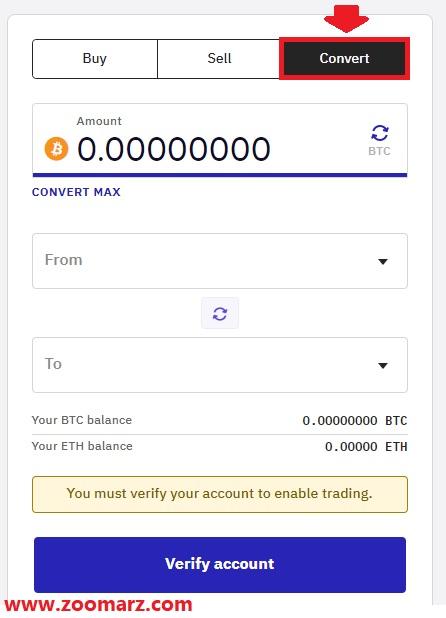 با تب Convert می توانید رمز ارزهای خود را به یکدگیر تبدیل نمایید