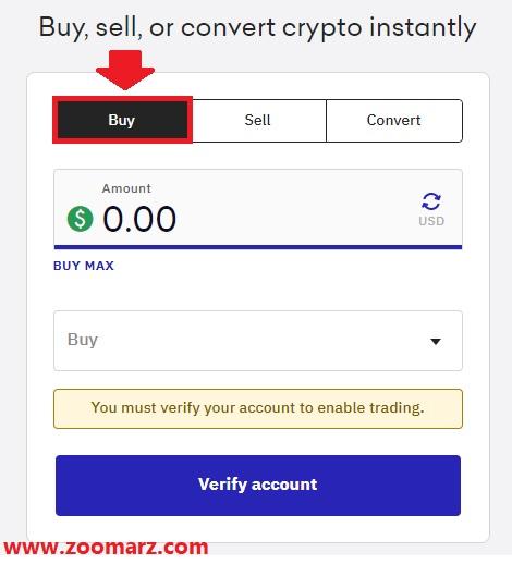 با انتخاب تب Buy می توانید رمز ارز خود را خریداری کنید