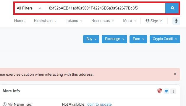 شناسایی کیف پول مشکوک در EtherScan