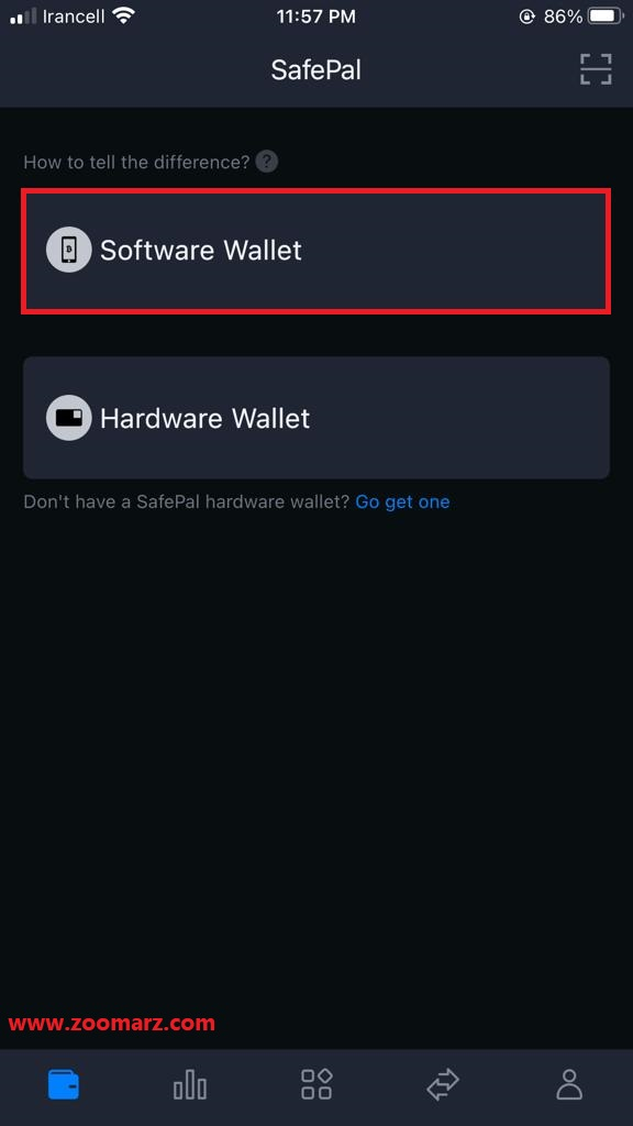 مجددا گزینه Software Wallet را انتخاب نمایید