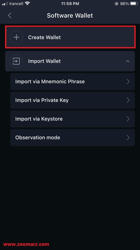 """گزینه """" Create Wallet """" را لمس نمایید"""