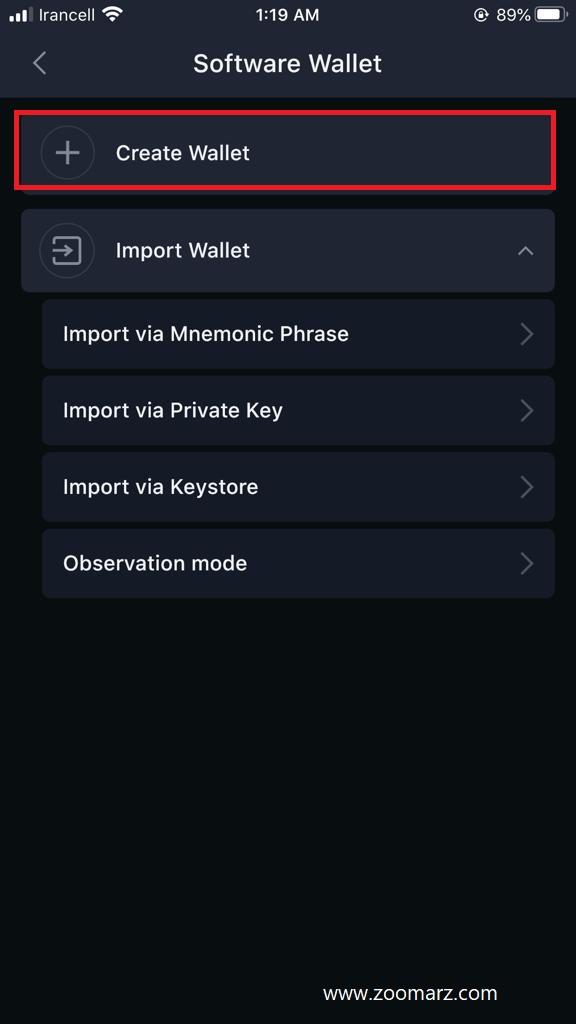 ایجاد حساب در کیف پول SafePal
