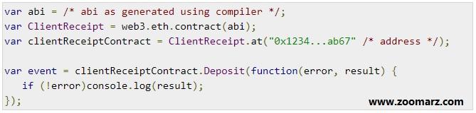 event قرارداد در کد JavaScript