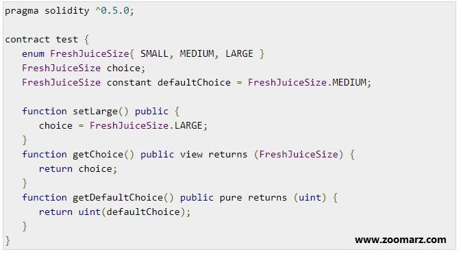 عملکرد enum در زبان برنامه نویسی Solidity