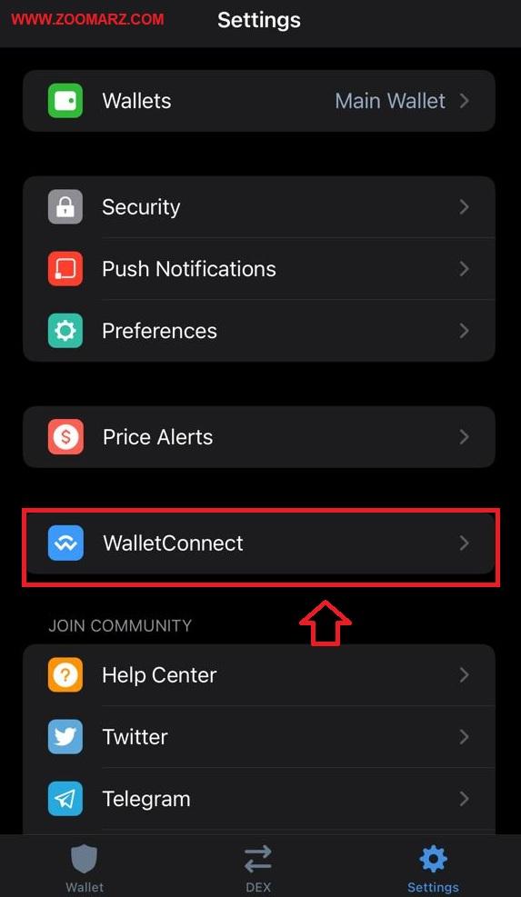 گزینه WalletConnect را انتخاب نمایید