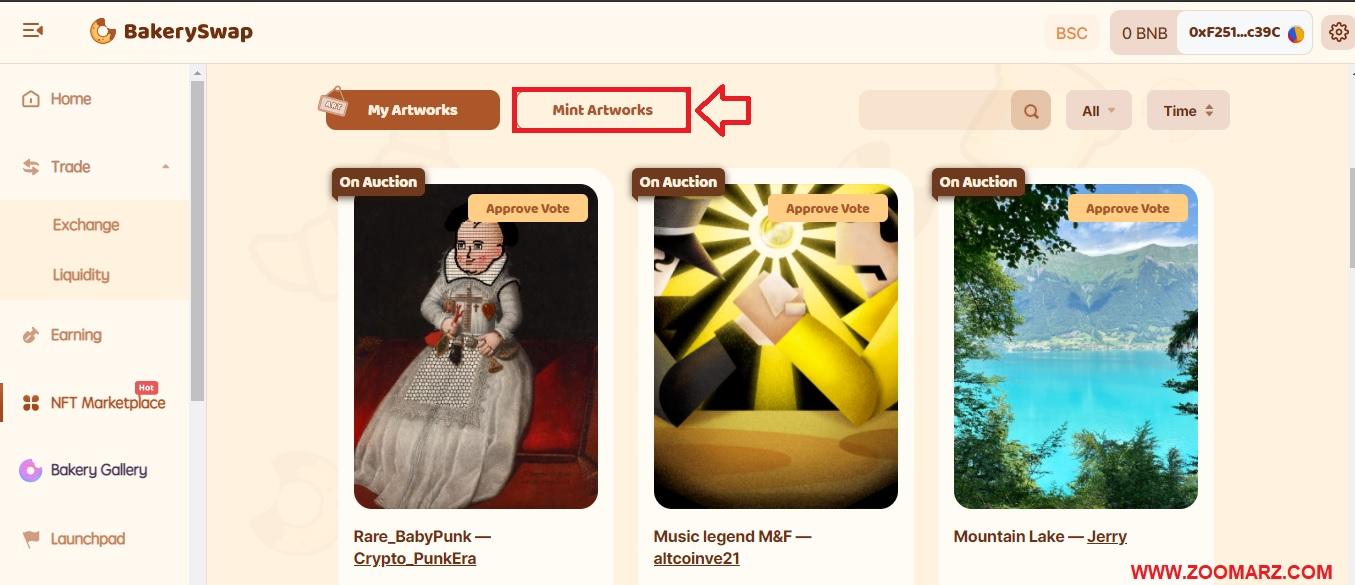 """گزینه """" Mint Artworks """" را انتخاب نمایید"""