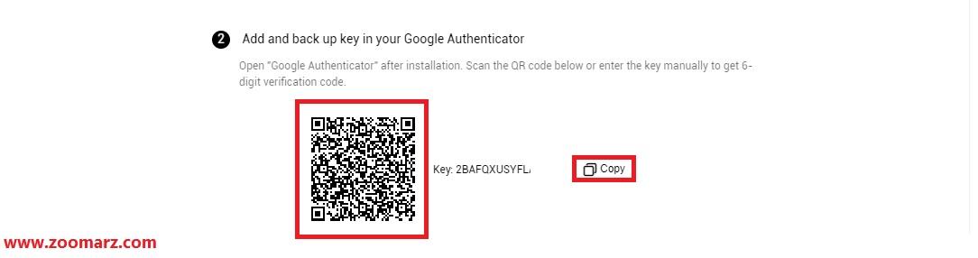 کد نمایش داده شده در مرحله دوم را در اپلیکیشن اسکن نموده و یا آن را کپی کنید