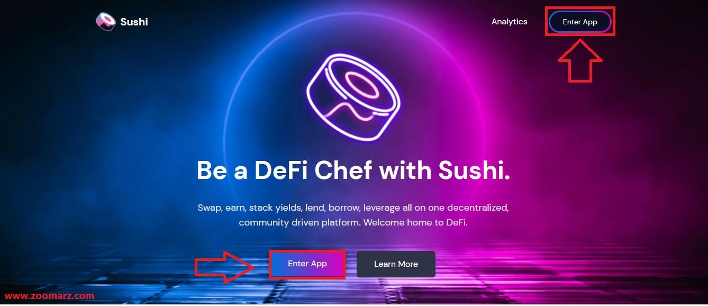 آموزش اتصال کیف پول به صرافی سوشی سواپ SushiSwap