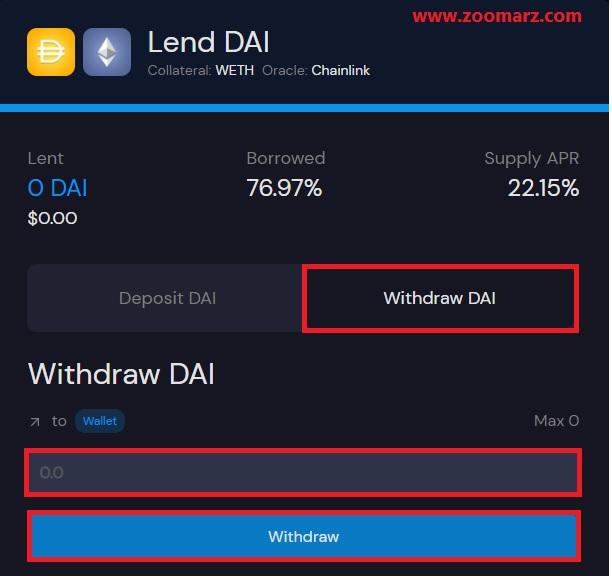اگر قصد برداشت ارز خود را از قسمت Lend دارید، از گزینه Withdraw استفاده نمایید