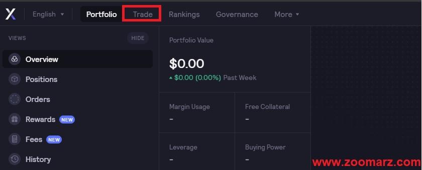 """تب """" Trade """" را انتخاب نمایید"""