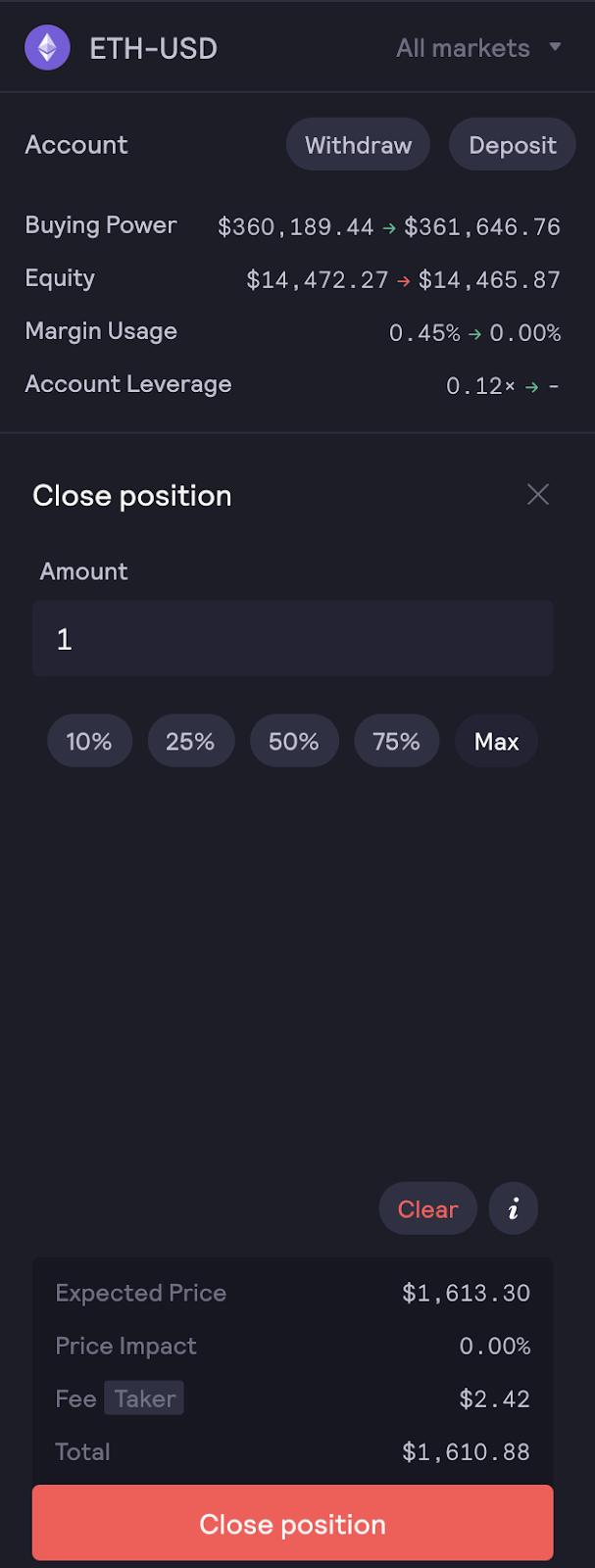 روی Close position کلیک کنید