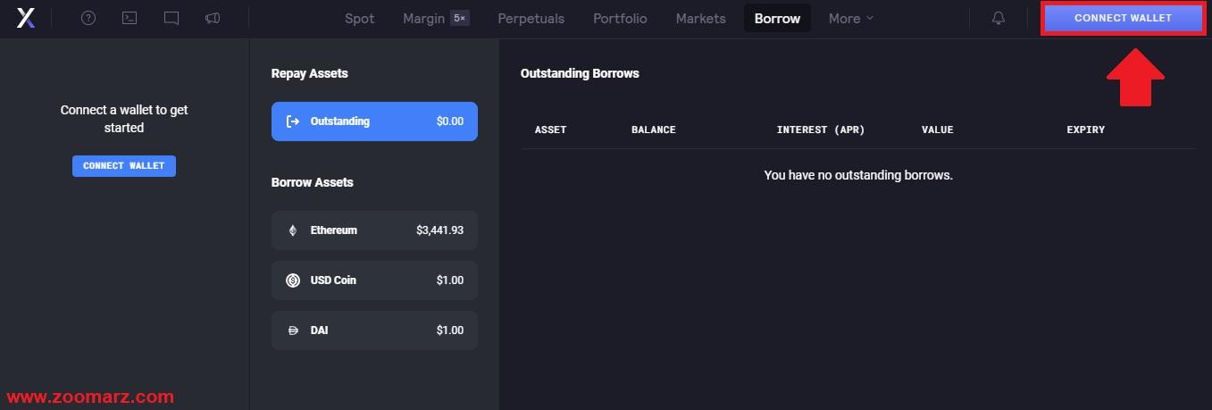 """گزینه """" Connect Wallet """" را انتخاب کنید"""