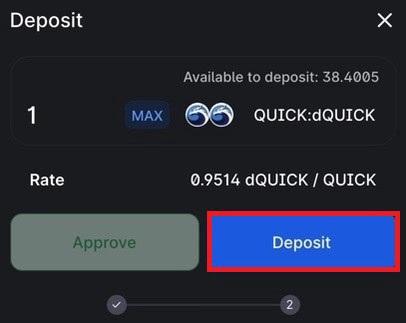گزینه Deposit را انتخاب کنید