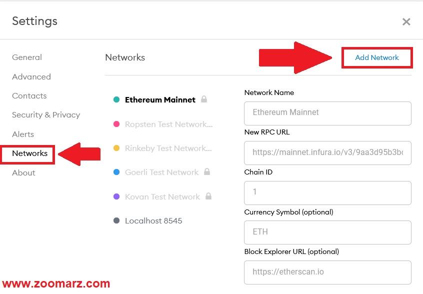 گزینه Networks